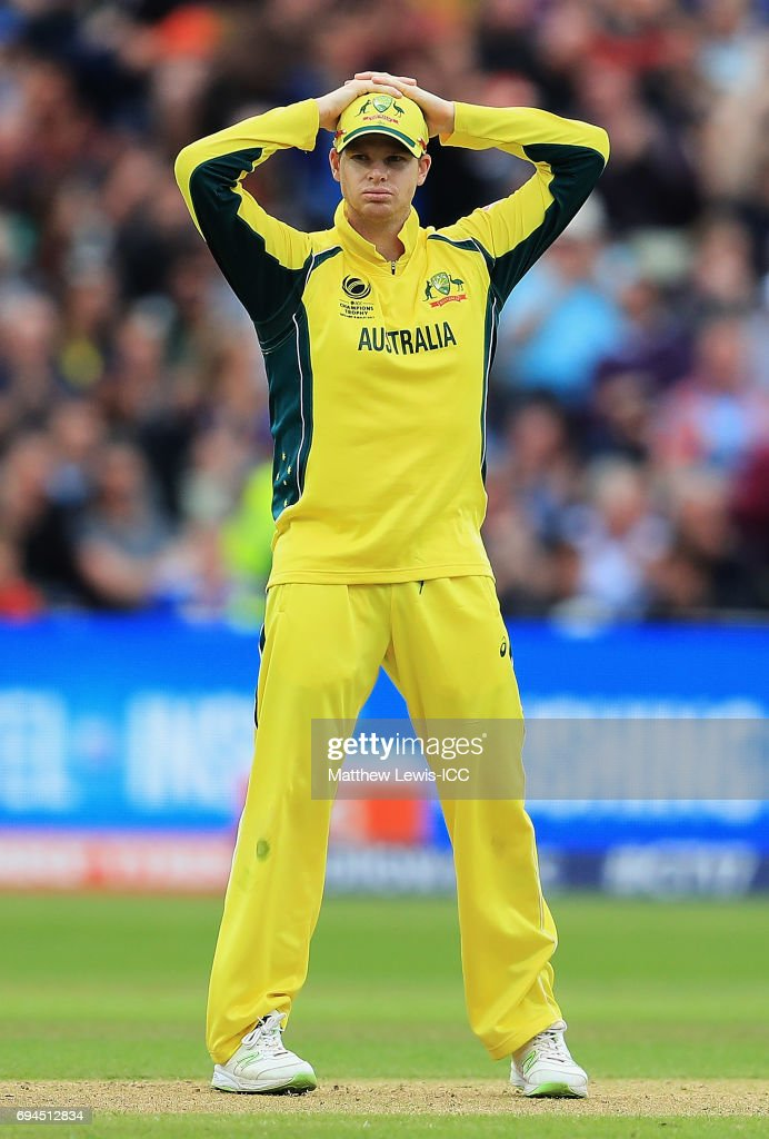 Steve Smith of Australia looks on during the ICC Champions Trophy match between England and Australia at Edgbaston on June 10, 2017 in Birmingham, England.