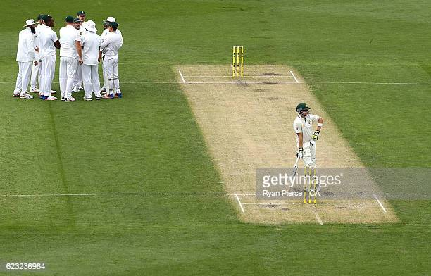 Steve Smith of Australia looks on while batting during day four of the Second Test match between Australia and South Africa at Blundstone Arena on...