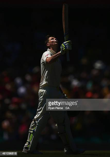 Steve Smith of Australia looks to the sky as he celebrates reaching his century during day two of the Fourth Test match between Australia and India...
