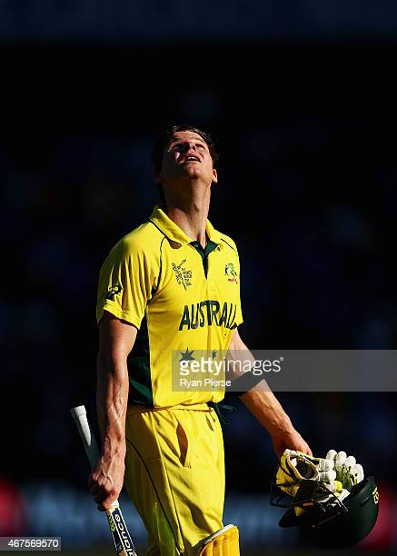 Steve Smith of Australia looks to the sky as he leaves the ground after being dismissed for 105 by Umesh Yadav of India during the 2015 Cricket World...
