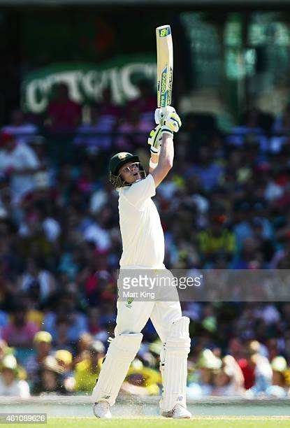 Steve Smith of Australia plays a lofted drive during day one of the Fourth Test match between Australia and India at Sydney Cricket Ground on January...