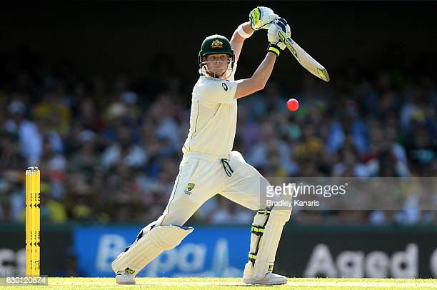 Steve Smith of Australia plays a shot during day three of the First Test match between Australia and Pakistan at The Gabba on December 17, 2016 in...