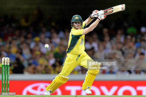 Steve Smith of Australia plays a shot during game two of the Victoria Bitter One Day International Series between Australia and India at The Gabba on...