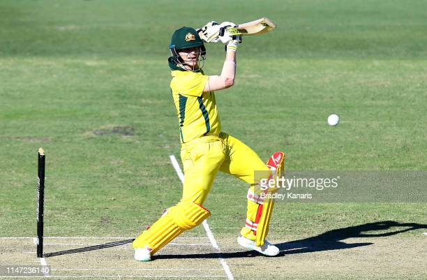 Steve Smith of Australia plays a shot during the Cricket World Cup One Day Practice Match between Australia and New Zealand at Allan Border Field on...