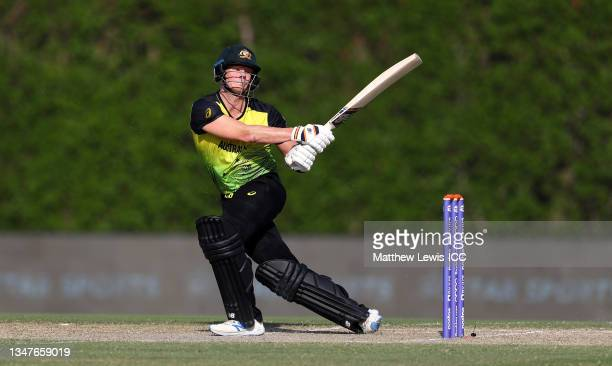Steve Smith of Australia plays a shot during the India and Australia warm Up Match prior to the ICC Men's T20 World Cup at on October 20, 2021 in...