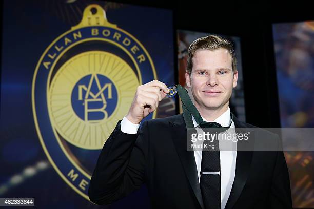 Steve Smith of Australia poses after winning the Allan Border Medal during the 2015 Allan Border Medal at Carriageworks on January 27, 2015 in...