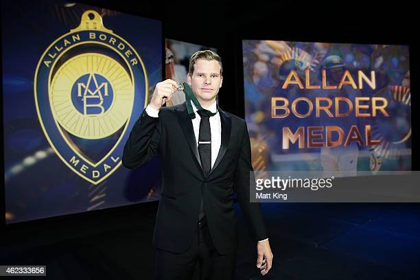 Steve Smith of Australia poses after winning the Allan Border Medal during the 2015 Allan Border Medal at Carriageworks on January 27 2015 in Sydney...