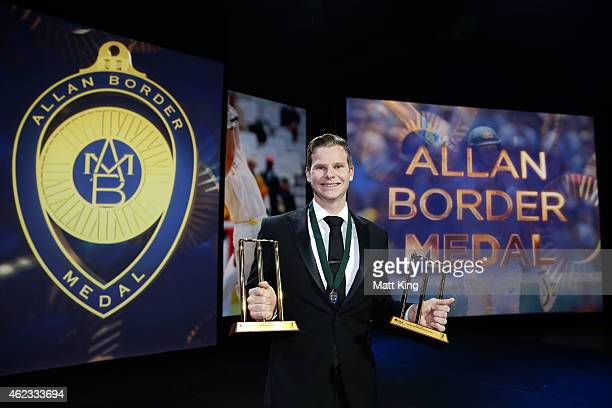 Steve Smith of Australia poses after winning the Allan Border Medal and the Test and One Day International player of the year awards during the 2015...