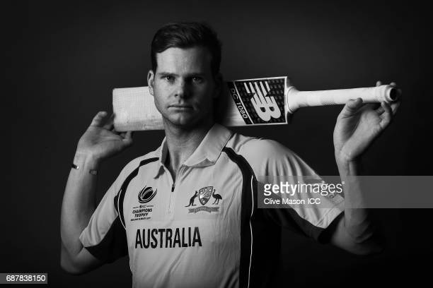 Steve Smith of Australia poses during a portrait session ahead of the ICC Champions Trophy at the Royal Garden Hotel on May 24 2017 in London England