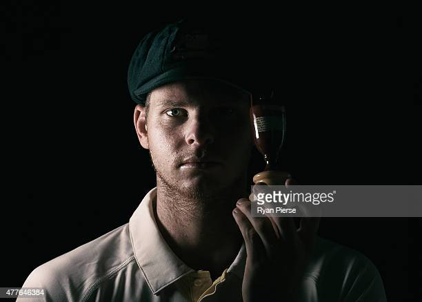 Steve Smith of Australia poses during an Australian Cricket Team Ashes portrait session on June 1, 2015 in Roseau, Dominica.