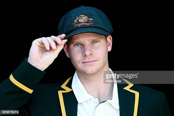 Steve Smith of Australia poses during an Australian media session at The Gabba on December 14 2016 in Brisbane Australia