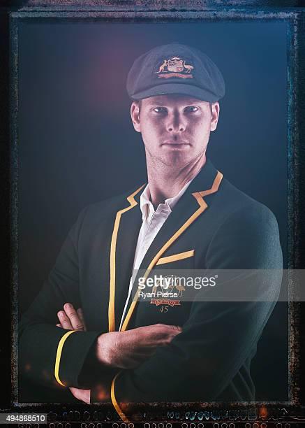 Steve Smith of Australia poses during an Australian Test Cricket Portrait Session on October 19 2015 in Sydney Australia