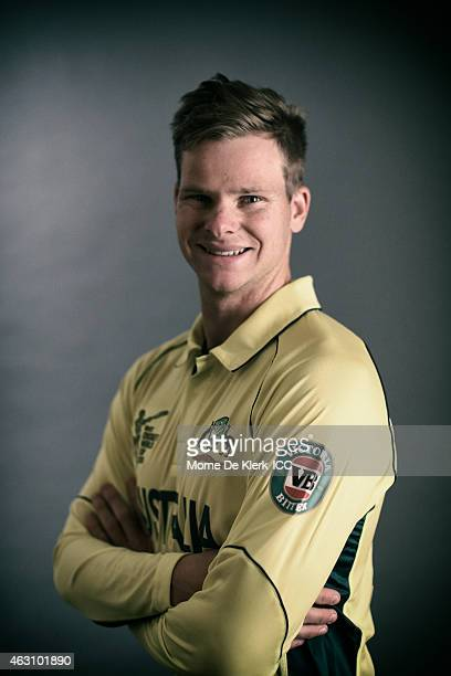 Steve Smith of Australia poses during the Australia 2015 ICC Cricket World Cup Headshots Session at the Intercontinental on February 7 2015 in...