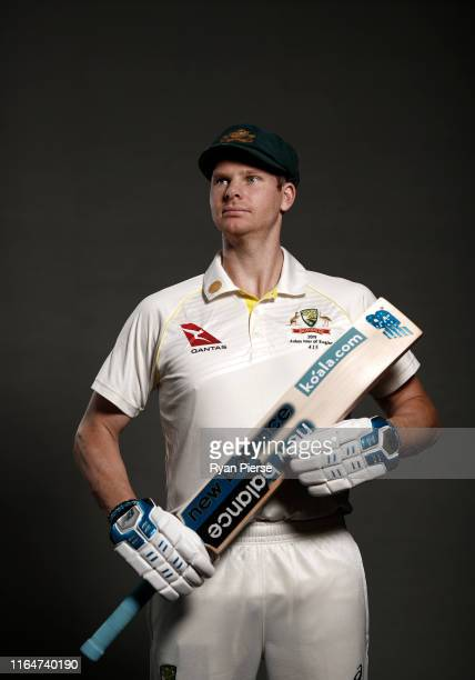 Steve Smith of Australia poses during the Australia Ashes Squad Portrait Session on July 28, 2019 in Birmingham, England.