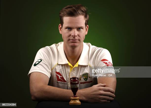 Steve Smith of Australia poses during the Australia Test cricket team portrait session at Intercontinental Double Bay on October 15 2017 in Sydney...