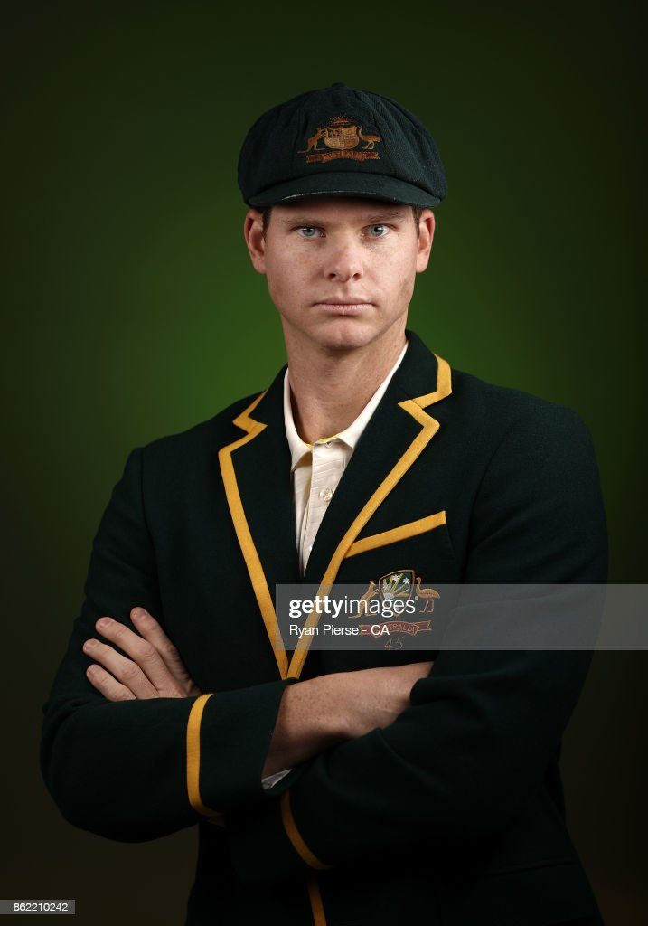 Steve Smith of Australia poses during the Australia Test cricket team portrait session at Intercontinental Double Bay on October 15, 2017 in Sydney, Australia.