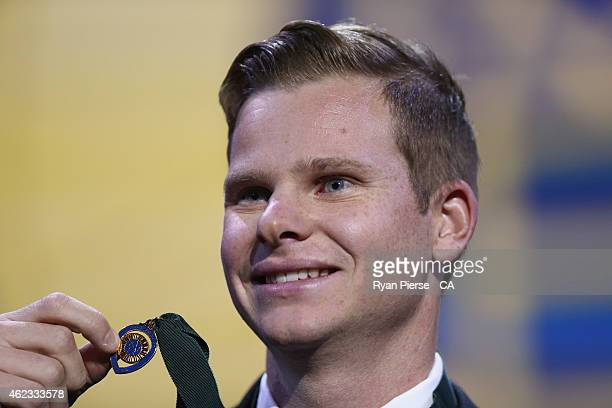 Steve Smith of Australia poses with his Allan Border Medal during the 2015 Allan Border Medal at Carriageworks on January 27, 2015 in Sydney,...