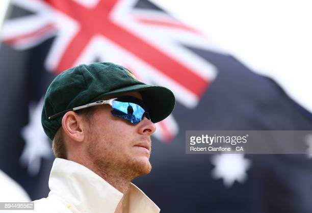 Steve Smith of Australia prepares to field during day five of the Third Test match during the 2017/18 Ashes Series between Australia and England at...