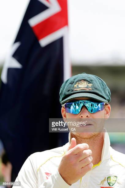 Steve Smith of Australia prepares to talk to the team during day five of the Third Test match during the 2017/18 Ashes Series between Australia and...