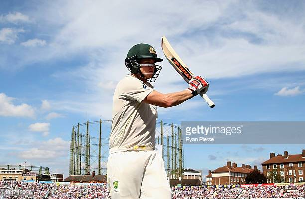 Steve Smith of Australia raises his bat as he leaves the ground after being dismissed for 143 runs by Steven Finn of England during day two of the...