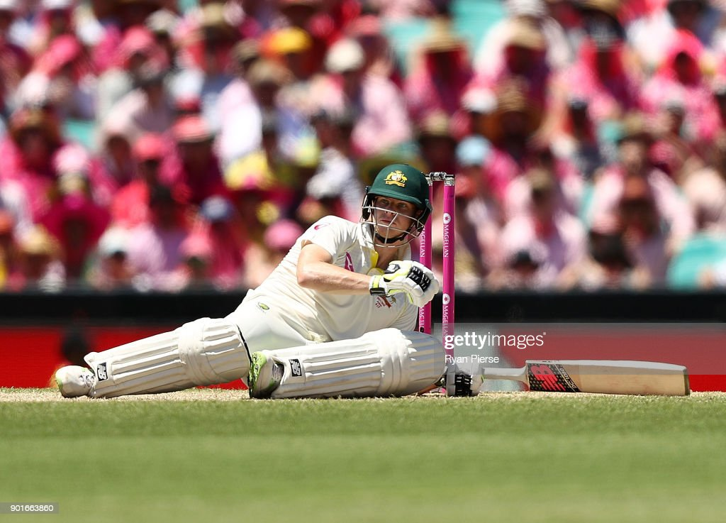Steve Smith of Australia reacts after avoiding a short ball from Stuart Broad of England during day three of the Fifth Test match in the 2017/18 Ashes Series between Australia and England at Sydney Cricket Ground on January 6, 2018 in Sydney, Australia.