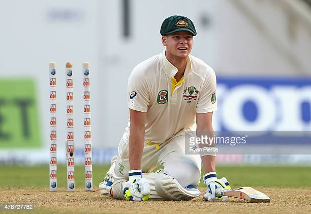 Steve Smith of Australia reacts after Denesh Ramdin of West Indies attempted to stump him but he was given not out during day one of the Second Test...