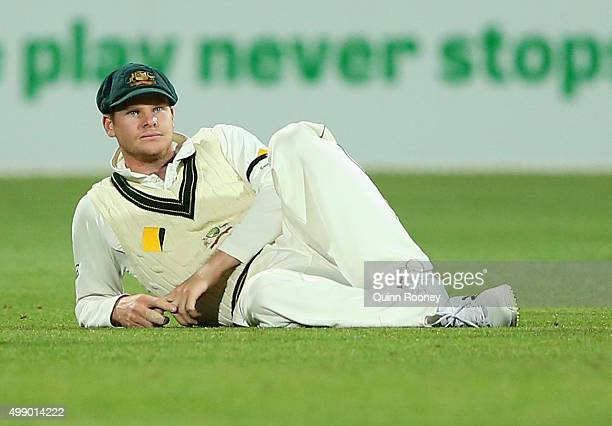 Steve Smith of Australia reacts after dropping a catch during day two of the Third Test match between Australia and New Zealand at Adelaide Oval on...
