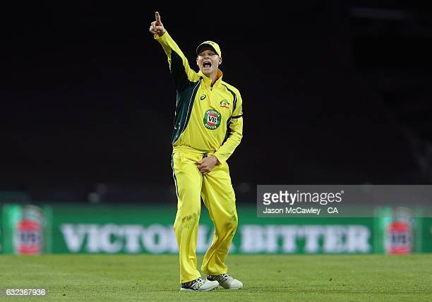 Steve Smith of Australia reacts during game four of the One Day International series between Australia and Pakistan at Sydney Cricket Ground on...