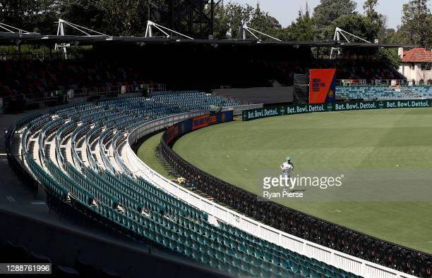 Steve Smith of Australia runs laps during an Australian ODI nets session at Manuka Oval on December 01, 2020 in Canberra, Australia.