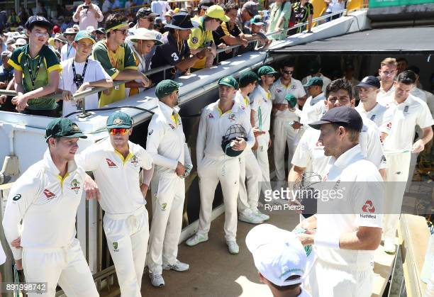 Steve Smith of Australia speaks to Joe Root of England during day one of the Third Test match of the 2017/18 Ashes Series between Australia and...