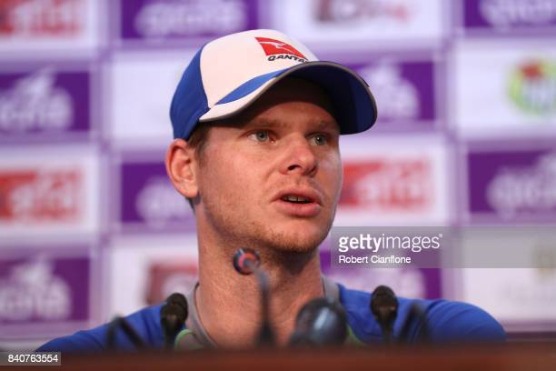 Steve Smith of Australia speaks to the media after Bangladesh defeated Australia during day four of the First Test match between Bangladesh and...