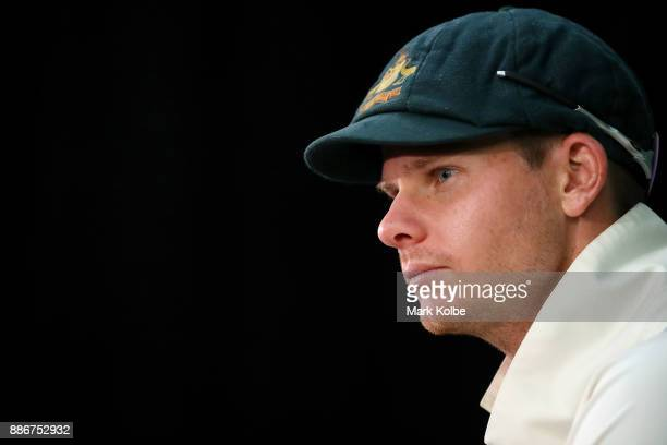 Steve Smith of Australia speaks to the media at the post match press conference after day five of the Second Test match during the 2017/18 Ashes...