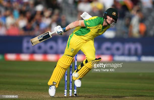 Steve Smith of Australia survives a run out chance during the Group Stage match of the ICC Cricket World Cup 2019 between Afghanistan and Australia...