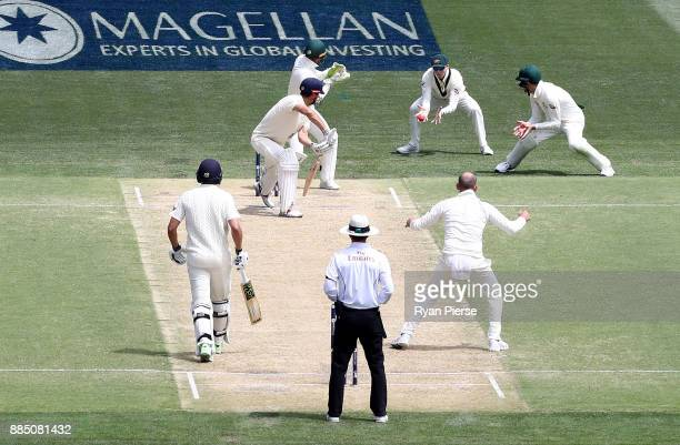 Steve Smith of Australia takes a catch to dismiss Alastair Cook of England off the bowling of Nathan Lyon of Australia during day three of the Second...