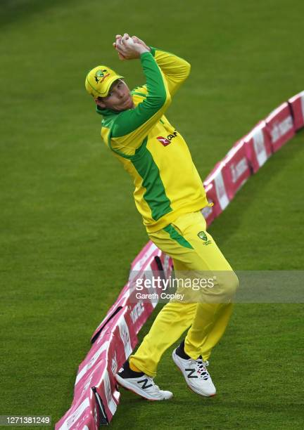 Steve Smith of Australia takes a catch to dismiss Moeen Ali of England during the 3rd Vitality International Twenty20 match between England and...
