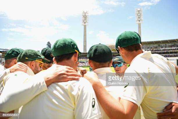 Steve Smith of Australia talks to his team mates before going onto the field during day four of the Third Test match during the 2017/18 Ashes Series...