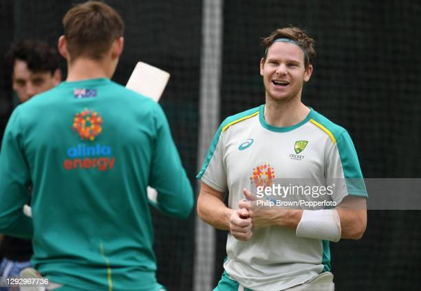 Steve Smith of Australia talks with Marnus Labuschagne during an Australian Nets Session at the Melbourne Cricket Ground on December 25, 2020 in...