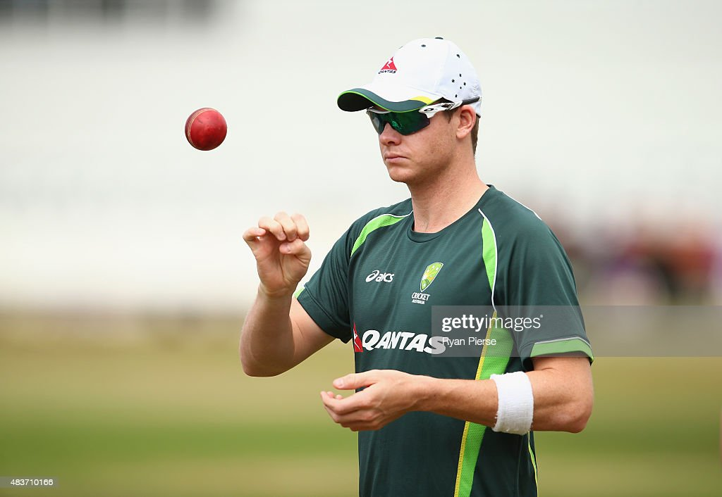 Steve Smith of Australia trains during an Australian Nets Session at The County Ground on August 12, 2015 in Northampton, England.