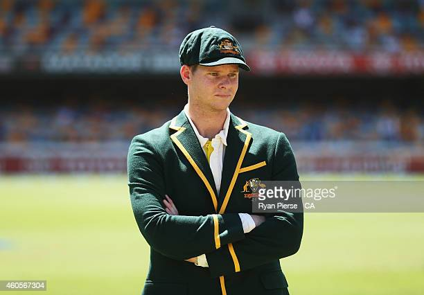 Steve Smith of Australia waits in the middle for his first coin toss as captain during day one of the 2nd Test match between Australia and India at...