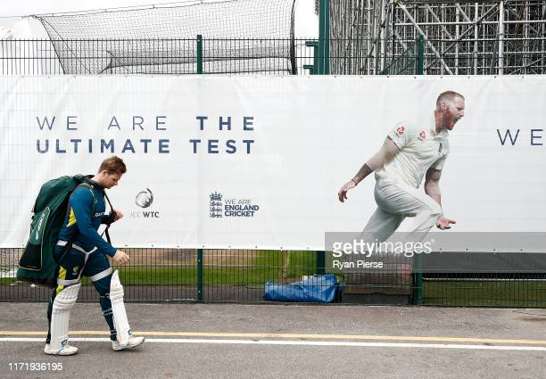 Steve Smith of Australia walks back to the change rooms during the Australia Nets Session at Emirates Old Trafford on September 03, 2019 in...