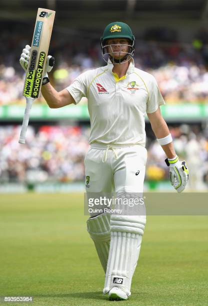 Steve Smith of Australia walks off the field after being dismissed for 239 during day four of the Third Test match during the 2017/18 Ashes Series...