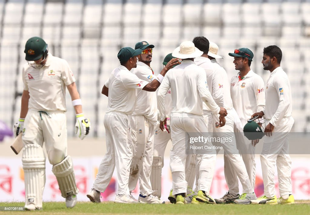Steve Smith of Australia walks off the ground after he was dismissed by Shakib Al Hasan of Bangladesh during day four of the First Test match between Bangladesh and Australia at Shere Bangla National Stadium on August 30, 2017 in Mirpur, Bangladesh.