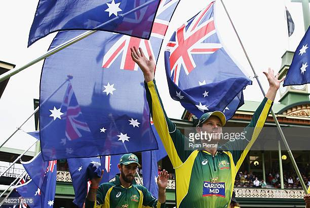Steve Smith of Australia walks onto the ground during the One Day International match between Australia and India at Sydney Cricket Ground on January...