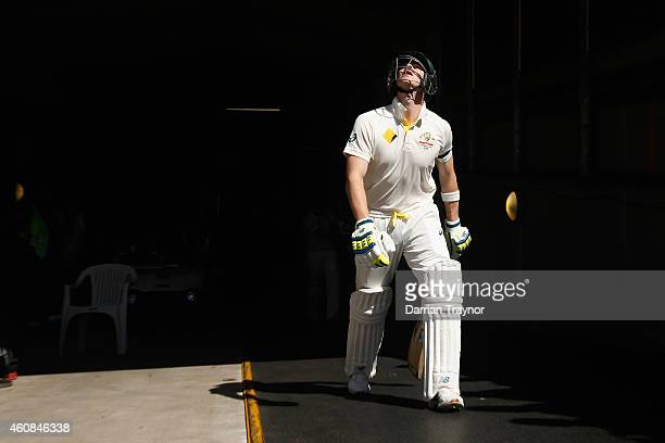 Steve Smith of Australia walks out before day two of the Third Test match between Australia and India at Melbourne Cricket Ground on December 27 2014...