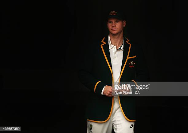 Steve Smith of Australia walks out for the coin toss during day one of the First Test match between Australia and New Zealand at The Gabba on...