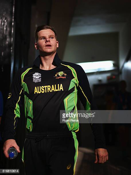 Steve Smith of Australia walks out for the coin toss during the ICC World Twenty20 India 2016 Super 10s Group 2 match between Australia and...