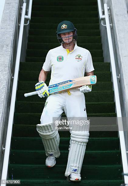 Steve Smith of Australia walks out to bat during day one of the Second Test match between Australia and the West Indies at Sabina Park on June 11...