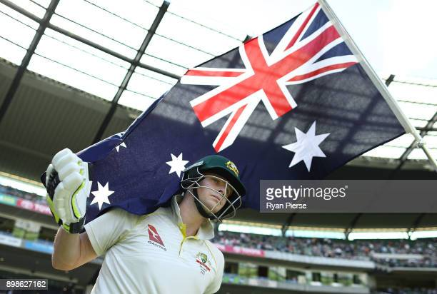 Steve Smith of Australia walks out to bat during day one of the Fourth Test Match in the 2017/18 Ashes series between Australia and England at...