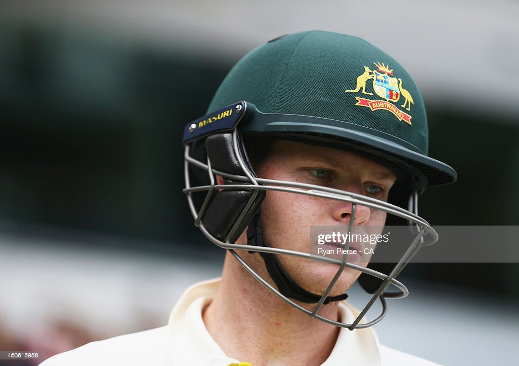 Steve Smith of Australia walks out to bat during day two of the 2nd Test match between Australia and India at The Gabba on December 18, 2014 in Brisbane, Australia.