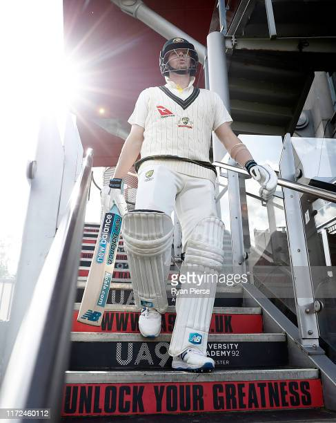 Steve Smith of Australia walks out to bat during day two of the 4th Specsavers Test between England and Australia at Old Trafford on September 05,...